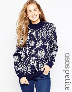 Pin for Later: 50 Christmas Jumpers That'll Satisfy Your Festive Fashion Urges  Asos Petite Vintage Ski Motif Christmas Jumper with High Neck  (£35)