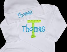 Personalized Infant Gown and Matching Hat Newborn by ChezWhimsy, $34.00