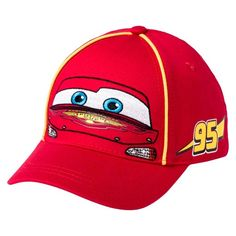 """Keep him cool with the Toddler Boys' Cars® Lightning McQueen Baseball Hat - Red. This toddler boys' hat has a 3.5"""" brim and the classic Lightning McQueen graphic and number."""