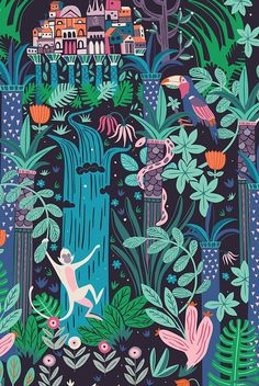 Mesmerizing use of colour on a black backdrop. Beautiful as children's art or book illustration. Manaus - City of the Forest by Paula McGloin, via Behance Graphic Design Illustration, Graphic Art, Illustration Art, Elephant Illustration, Art Et Design, Frida Art, Illustrations Posters, Illustrators, Concept Art
