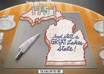 @Jessica Trompeter @Angela Ochoa  LOOK!  Someone made a Michigan-shaped cake for the birthday party!  :D