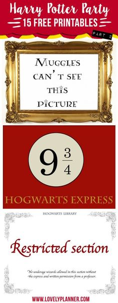 15 free Harry Potter Party printables: platform 9 hogwarts express, restricted section, muggles can't see this picture. Baby Harry Potter, Harry Potter Baby Shower, Signe Harry Potter, Harry Potter Motto Party, Harry Potter Fiesta, Harry Potter Thema, Harry Potter Classroom, Theme Harry Potter, Harry Potter Bedroom