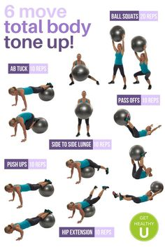 yoga ball workout Youve got to try this 6 move total body tone up workout for a quick head to toe fat burner, then check out our free exercise library for more amazing exercises that really work! Tone It Up, Tone Up Workouts, At Home Workouts, Exercise Routines, Exercise Motivation, Yoga Workouts, Motivation Quotes, Yoga Bewegungen, Stability Ball Exercises