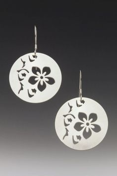 Flat Pierced Round Cherry Blossom Earrings via Etsy