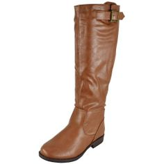 Amazon.com: Bamboo Montage-01N Chestnut Women Riding Boots: Shoes