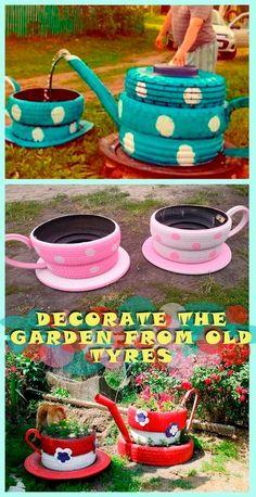 garten recycling Decorate the garden from old tyres Tire Garden, Garden Yard Ideas, Garden Crafts, Diy Garden Decor, Garden Projects, Garden Art, Garden Decorations, Backyard Playground, Backyard For Kids