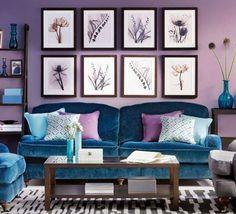Viola e blu - Idee carine per abbinare i colori delle pareti nel soggiorno.