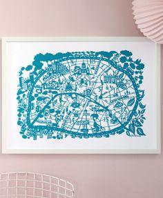 Paris hand screen printed city map | Famille Summerbelle