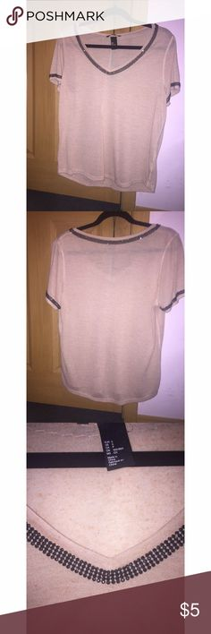 Beaded tee V-neck beaded tee, super comfortable and only worn twice H&M Tops Tees - Short Sleeve