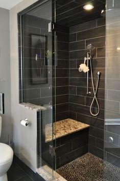 Contemporary 3/4 Bathroom with Arizona tile, FIBRA SERIES, Ceramic tile, Wall sconce, Arizona tile, PEBBLE MOSAICS