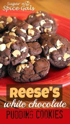 Reeces White Chocolate Pudding Cookies on MyRecipeMagic.com