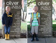 """Cute memory maker. The creater (Raechel of Finding My Feet - http://raechelmyers.com) not only took a photo of her son on the first and last day of school, but she digitally added in some of his favorite things at the time to create a snapshot """"diary."""""""