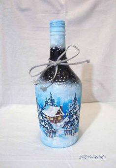 hermoso paisaje decorando botella