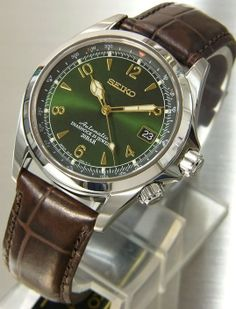 Some wrist watches are exclusively for men for example Seiko Alpinist which is a mechanical watch de. Seiko Alpinist, Elegant Watches, Beautiful Watches, Cool Watches, Watches For Men, Wrist Watches, Men's Watches, Seiko Presage, Watches Photography