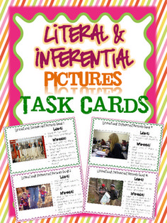 Use these 18 half page task cards to help your students understand the difference between literal and inferential questions. Each card includes a a picture and literal and inferential questions about the pictures. $