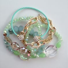 Spring Neons Bracelet Set - Bright Green, Seafoam, Aqua, and Gold. $46.00, via Etsy.