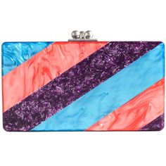 Glamorous and bold, this shimmering tricolor acrylic clutch is the perfect finishing touch to an understated cocktail dress. Designed by Edie Parker. http://zocko.it/LEQ9h