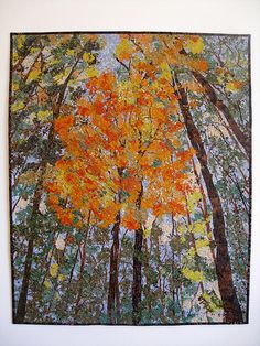 Just finished Fiber Art Confetti Quilt design for a lovely cottage in the woods in my home town.  Full Photo of Autumn Trees Art Quilt