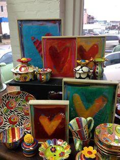 PERFECT COMBO: HEART PAINTINGS BY NICOLE LAMAR AND MARY ROSE YOUNG POTTERY