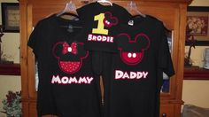Mickey Mouse Minnie Mouse - Red Black Yellow Disney Birthday Family Custom T-Shirt Personalized Applique $18.00 each.