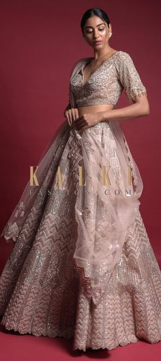 Buy Online from the link below. We ship worldwide (Free Shipping over US$100)  Click Anywhere to Tag Rose Peach Lehenga In Organza With Applique Work In Geometric Pattern Online - Kalki Fashion Rose peach lehenga in organza with applique work in geometric pattern along with mirror, sequins and zari embroidery all over.Paired with a matching choli heavily embroidered along with salli fringes on the sleeves. Wedding Function, Baby Girl Dresses, Indian Designer Wear, Lehenga Choli, Ball Gowns, Outfit Ideas, Sequins, Blouses, Free Shipping