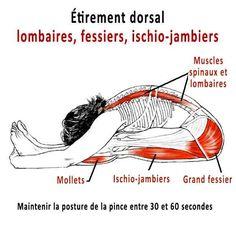 Position de la pince pour étirer la chaine musculaire postérieure