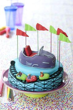 carnival rides, amusement park, roller coaster cake