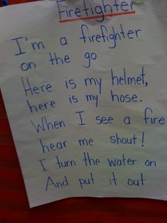 """""""Firefighter"""" Song/Poem (Tune: """"The Wheels on the Bus"""")"""
