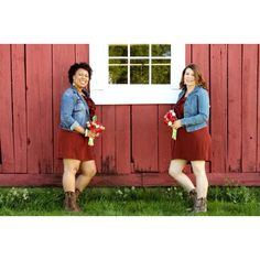 Red bridesmaids' dresses with jean jackets and boots.