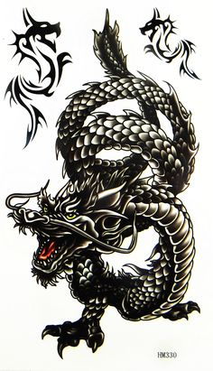 Great 50+ Dragon Tattoos Designs Ideas : Black Ink Oriental Dragon Tattoo Designs