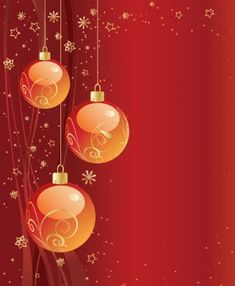 Free Red Christmas Background Vector With Beautiful Orange Christmas Balls  And Other Xmas Decorations. Perfect Free Template For Greeting Cards And  Gift ...