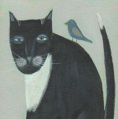 Tuxedo Cat Painting - Original Acrylic Painting - Kitty with Bird - Primitive Folk Art.  Arleigh