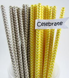 25 Gray and Yellow Wedding Shower Chevron Paper by ThePinkPicker, $3.95