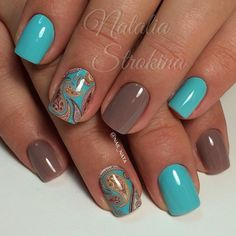 This is bright and unusual manicure. A pastel brown colour, reminiscent a chocolate and bright turquoise varnish, converged in one design. Besides unusual