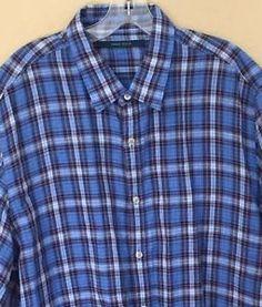 Perry Ellis Men's Plaid Linen Button Front Shirt $69 50 XL New | eBay