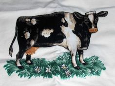 VTG Hand Painted Cow on Greenery with Flowers by classiccapecod, $9.99