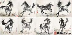徐悲鸿《八骏图》 Xu Beihong (1895-1953) was primarily known for his Shui-mo Hua (Chinese ink-and-wash painting) of horses and birds and one of the first Chinese artists to articulate the need for artistic expressions that reflected a new modern China at the beginning of the 20th century.
