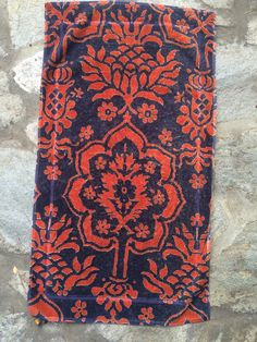 Fresco Towels Venetian Brocade Red/Navy Large by EilatsBoutique