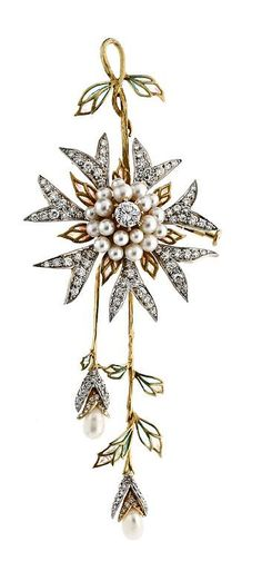 Diamond, pearl, plique-à-jour enamel, silver and gold floral brooch, by Masriera, circa 1900.
