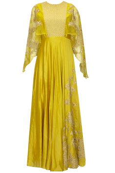 Mustard yellow and gold floral dori embroidered cape gown available only at Pernia's Pop Up Shop. Indian Dress Up, Indian Gowns, Indian Attire, Indian Outfits, Indian Clothes, Indian Designer Outfits, Designer Dresses, Casual Asian Fashion, Salwar Kameez
