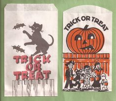 My whole life, all my Halloween candy from my granny, was in one of these bags. Halloween Goodie Bags, Halloween Wishes, Halloween House, Halloween Candy, Happy Halloween, Halloween Decorations, Vintage Fall, Vintage Holiday, Vintage Halloween