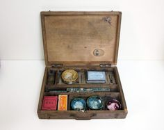 Vintage french artist paint box - Pencils box Pen nibs Eraser -1930