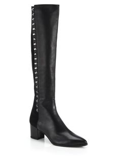 Stuart Weitzman 10 Ballast Lea Embellished Leather Knee High Black Boots RV 695 #StuartWeitzman #KneeHighBoots #WeartoWork