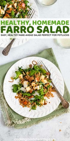 Farro Salad is a flavorful, heart-healthy make-ahead dish that's perfect for potlucks. Under 300 calories and made with whole grain Farro, arugula, apples, pecans, & vinaigrette.