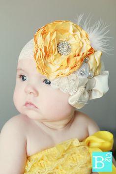 Rose Headband/ yellow headband/ ivory headband/ flower headband/ baby headband/ children's headband/ Spring headband/ baby bow