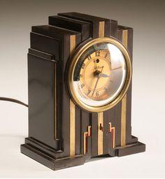 "Telechron bakelite clock by Paul Frankl. Warren Telechron Co. Skyscraper form ""electrolarm""  ca. 1932."