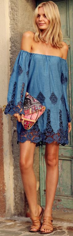 Blue Lace Detail Off Shoulder Cover-up Dress