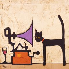 CAT AND GRAMOPHONE by Colin Ruffell   Artfinder