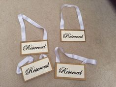 """Gold Trim """"Reserved"""" Signs for your ceremony!"""
