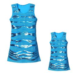 Kids Girls Sequinned Party Dress Sleeveless Wave Summer Holiday Pageant A-line